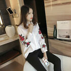 Floral Embroidered Blue Striped Long Sleeve Shirt Collar Blouse Blogger Tops