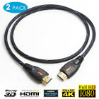 1/2pcs Ultra High Speed Hdmi Cable 1080p Supports Ethernet Hdtv 1080p 6ft 10ft