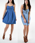 Womens Ladies Strappy Zip Front Denim Look Boobtube Shift Bodycon Party Dress