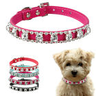 Shiny Rhinestone Suede Leather Pet Dog Collar With Crystal Diamante Buckle Corgi