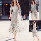 2017 Vintage Women's Floral Embroidery Lady Beach Holiday Summer New Long Dress