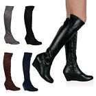 26I WOMENS MID WEDGE HEEL LADIES ZIP UP STRETCH KNEE HIGH LONG BOOTS SIZE 3-8