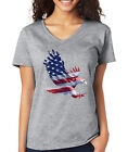 AMERICAN FLAG BALD EAGLE 4th of July patriotic freedom Women's V-Neck T-Shirt