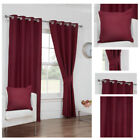 Ready Made Red Curtains Waffle Effect Design Ring Top Eyelet Lined Sizes Pair