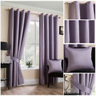 Ready Made Mauve Satin Textured Soft Curtains Ring Top Eyelet Living Sizes