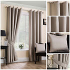 Ready Made Natural Satin Textured Soft Curtains Ring Top Eyelet Living Sizes