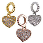 Zirconia Crystal Dangle Paved Heart Bracelet Charm Bead Cooper Gold Filled