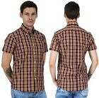 Relco Men's Burgundy Ox Blood Yellow Check Short Sleeved Button Down Shirt