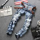 New men stitching jeans snowflake wash blue Slim straight pants small stretch