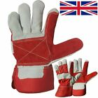 DOUBLE PALM Canadian Leather Red Rigger Work Gloves Heavy Duty Safety Gauntlets