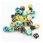 HAND PAINTED WOODEN BEADS *7 COLOURS* *2 SIZES* BEADING CRAFTS JEWELLERY MAKING