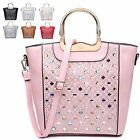 Ladies Designer Fx Leather Diamante Gem Style Shoulder Handbag Grab Bag MA34866