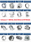 "Metal 5 inch Ducting Pipe Ventilation Extractor Fan fittings for 5"" dia/ 125mm"