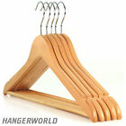 Simply Essential Natural Wooden Suit Coat Hangers Trouser Bar 45cm Hangerworld