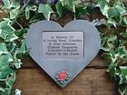Personalised 3D Rose Design Stone Memorial Heart / Grave Marker Any colour