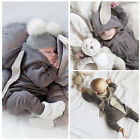 Kids Baby Boy Girl Warm Bunny Romper Jumpsuit Bodysuit Hooded Clothes Spring