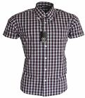 Relco Mens Burgundy & Blue Checked Short Sleeved Button Down Mods Skins Shirt