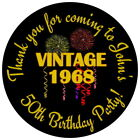 PERSONALISED GLOSSY VINTAGE YEAR 40TH, 50TH, 60TH, BIRTHDAY STICKERS ANY AGE