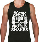 Sex Weights & Protein Shakes Tank top. Funny Workout Gym Lifting muscle tank