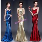 Womens Sequins Strapless Formal Evening Prom Party Dress Ball Gown S-3XL Show