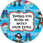 PIRATE PARTY GLOSS PERSONALISED BIRTHDAY PARTY BAG SWEET CONE THANK YOU LABELS