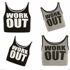 Womens Ladies NEW Active WORK OUT Cropped Lined Bralet Top Strap Slogan Gym 8-14