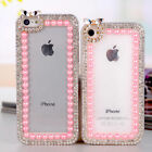 For Mobile Phone New Bling Clear Crystal Diamonds Girly Pink Pearls Diamond Case