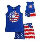 "Girl 4-14 and 18"" Doll Matching Tank Shorts 4th July Outfit fit American Girl"