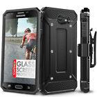 Galaxy J7 Prime Case and Glass Screen Protector Evocel Full Body Case & Holster
