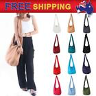 AU New Cotton Bag Crossbody Messenger Strap Purse Travel Pouch Solid Color Yaam