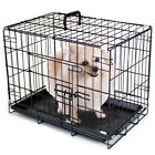 Folding Black Stainless Steel Dog Pet Crate Kennel Cage w/ Removable Liner Tray