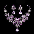 Crystal Diamante Rhinestone Wedding Bride Bridal Necklace Earrings Jewellery Set