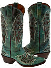 Women's Turquoise Wings Fleur De Lis Studded Western Cowgirl Flower Boots Snip