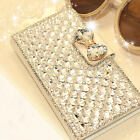 For Samsung Phones Bling Rhinestone Diamond PU Leather Flip Wallet Case Cover