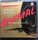 KAMASAN ANIMAL BARBED EYED HOOKS - FOR CARP,BARBEL, TENCH, CHUB ETC - FREE P & P