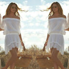 Women Summer Casual Off Shoulder Swimwear Dress Beach Dress Short Mini Dress