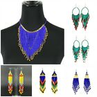 Women Fashion Jewelry Chic  Colourful Seed-bead Statement Drop Earrings Necklace