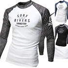 Mens Beach Water Sports Rash Guard Wetsuits Long Sleeve Top Summer Swimwear T527