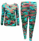 Womens Ladies Multi Colour Camouflage Army Two Piece Top Lounge Suit Tracksuit