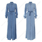 Womens Ladies Long Open Denim Summer  Abaya Modest Casual Summer Dress Outdoor W