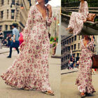 Fashion Women Lady Summer Floral Dress Boho Floral  Evening Party Cocktail Beach