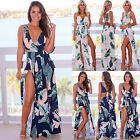 UK Womens Off Shoulder Leaf Holiday Ladies Summer Beach Slit Long Maxi Sun Dress