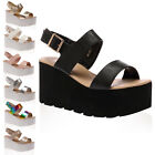 33I WOMENS PEEP TOE LADIES STRAPPY WEDGE CHUNKY FLATFORM SANDALS SHOES SIZE 3-8