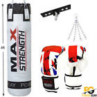 4FT White Leather Boxing Punch Bag Filled With Gloves Chains Set MMA