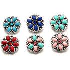 Alloy Round Turquoise Rhinestone Snaps Buttons Charms Fit 18mm Snap Jewelry