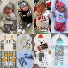 New Kids Baby Clothes Boy Girl Tops Romper Long Pants 3pcs Outfits Set UK Stock