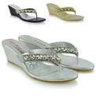 Womens Low Wedge Heel Toe Post Diamante Sandals Ladies Sparkly Flip Flops 3-8