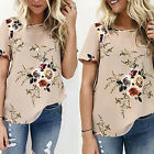Summer Women Blouse Floral Short Sleeve Tees Ladies Loose Casual T-shirts Top HF
