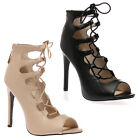 New Womens Lace Up Ladies Peep Toe Ankle Boots High Heel Sandals Shoes Size 3-8