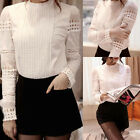 Womens Fashion Tops Long Sleeve Solid Elegant Work Shirts Blouses White Chic TOP